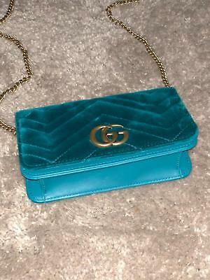 e343c1b0068 GUCCI MINI GG MARMONT VELVET SHOULDER BAG Petrol 100% authentic ...
