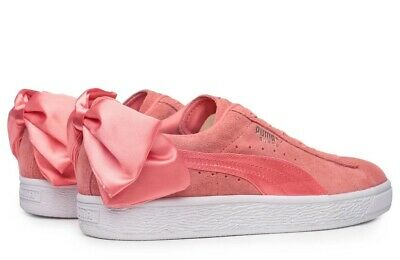 NEW Womens Girls PUMA Suede Pink Bow Trainers Size 5