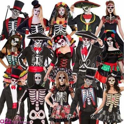 Adult Mens Ladies Mexican Day of the Dead Costume Halloween Skeleton Fancy Dress