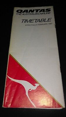Qantas Airlines Timetable 1987 Near Mint 74 pages