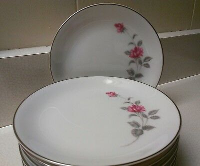 "Lennold Enchanted Rose Set of 8 Bread Plates 6 1/2""  Fine China Japan"