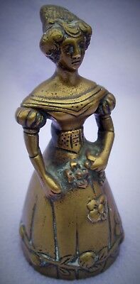 VINTAGE RARE BRASS LADY BELL WITH LEG CLAPPERS - WELL DEFINED - 105mm