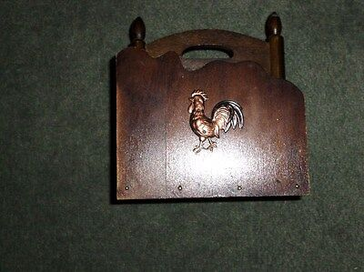"""Vintage Wooden Napkin Holder With Copper Rooster Decor, 6"""" L X 6.5"""" H, GUC"""