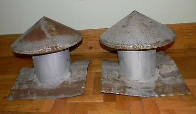 Pair of Antique Vintage Old Original Barn Cupolas Galvanized Tin