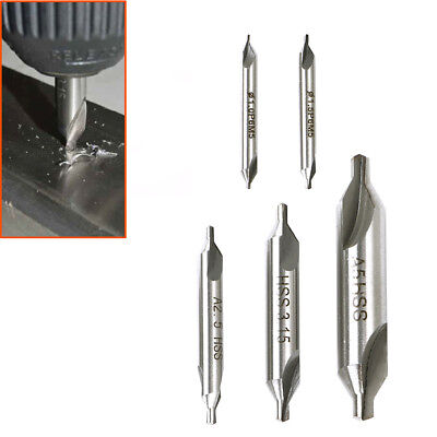 Set Of 5 Hss Centre Drills 1Mm 1.5Mm 2.5Mm 3.15Mm 5Mm Metal Lathe Working Tools