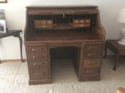 Antique Solid Oak Roll Top Desk With Key