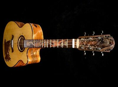 Blueberry Special Order Jumbo Owl Motif Acoustic Guitar 90 Day Delivery
