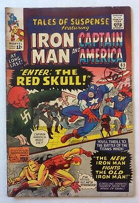 Tales Of Suspense 65 Iron Man Captain America Silver Age VG+/NF- First Red Skull
