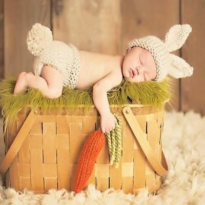 Baby Photography Props Baby Girls Boys Handmade Crochet Knitted Hat Pants 2pcs O