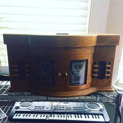 Philco Record Player Cd Radio Cassette Tape Player Wood Case Built In Speakers