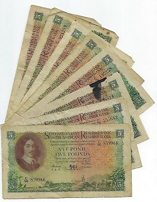 South Africa 5 Pounds 1950-1959 x 8 Fine. JO-6032
