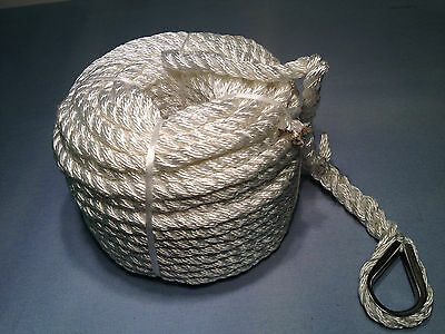 Aamstrand Marine Anchor Line 3/8 in. x 100 ft. White Nylon Boating Rope Thimble