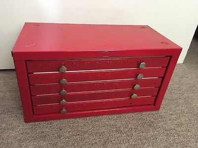 Vintage HUOT Drill Bit Cabinet Organizer With 5 Drawers for Bits # 1 - 60
