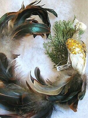 Large Clip On Christmas Bird Ornaments with Real Feathers Set of 3 Brown Gold