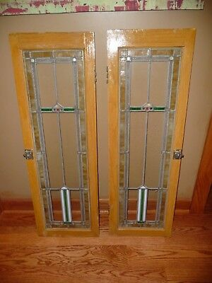"""Pair Antique Stained  Clear Leaded Glass Doors Set Windows 13.5"""" x 43"""" Bungalow"""