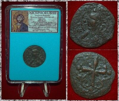 Ancient Byzantine Empire Coin NICEPHORUS III JESUS CHRIST Holding Gospels Follis