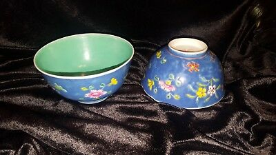 Beautiful Footed Hand painted Rice Bowls