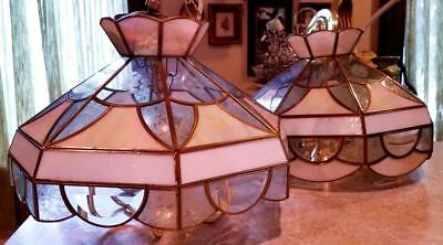 Stained Glass & Etched Glass Hanging Lamp Shade Lot, Chandelier Vintage Set of 2