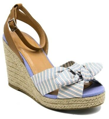 fe4e190574a NAUTICA WOMENS WEDGE Sandals LONGSHORE US 9 Blue White Striped Ankle ...