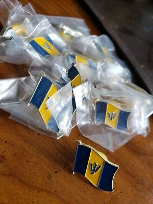 10 Barbados NATIONAL COUNTRY WORLD FLAG LAPEL PINs NOS Collectible Hat Work