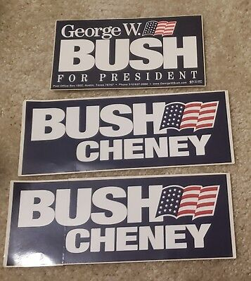 """3(Three) Bush / Cheney Bumper Stickers From 2000 """"mint"""" Condition"""