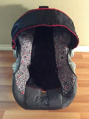 EVENFLO Embrace Baby Car Seat Cover Cushion Canopy Set Part Infant Black Red