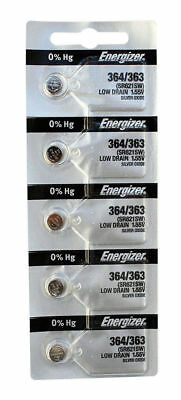 5 Energizer Watch Batteries 364/363 SR621SW Battery New