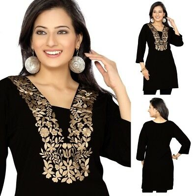 UK STOCK Women Casual Black Indian Short Kurti Tunic Kurta Top Dress 75D