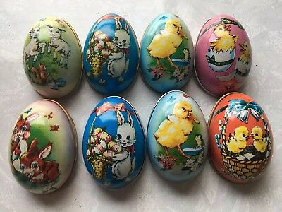 Easter Eggs Tin Metal 1988 McCrory Candy Holders Lot/8. FREE SHIPPING