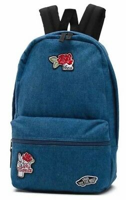 8ff9d4c6faad NEW VANS Calico Blue   Black Denim Patch Love Rose Off The Wall Backpack