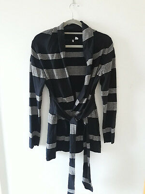 Ripe Maternity Medium Black with cream stripe wrap cardigan jumper knit