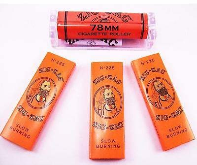 Zig Zag Orange  Cigarette Rolling Paper (3 Packs) and Zig Zag  78MM Roller