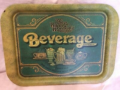 Vintage 1979 Pentron Industries Inc Metal Tray The Warm & Wonderful Beverage Co