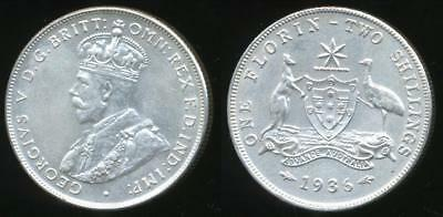 Australia, 1936 Florin, 2/-, George V (Silver) - Extra Fine/almost Uncirculated