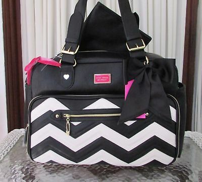 Betsey Johnson Baby Diaper Bag Tote Chevron Weekender Travel Carry On Nwt