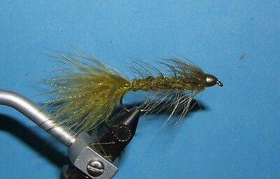 Woolly Bugger - olive - cone head - # 4, 6, 8, 10. streamer.
