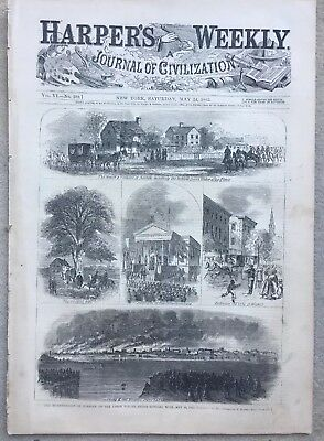 Harper's Weekly 5/24/1862 Civil War in Virginia Yorktown Norfolk Map