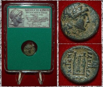 Ancient GREEK Coin ANTIOCHOS II THEOS Seleucid King Apollo and Lyre