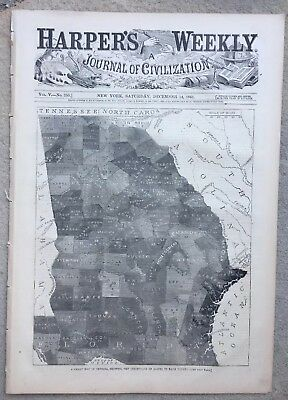 Harper's Weekly 12/14/1861 Civil War Slave Map of Georgia South Carolina