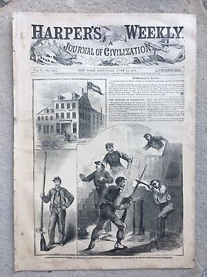 Harper's Weekly 6/15/1861 Civil War the Murder of Col Ellsworth,  Virginia