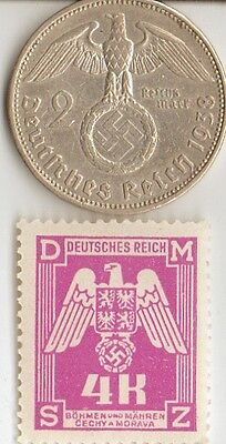*ww2 - *german SILVER  EAGLE coin /stamp ++...