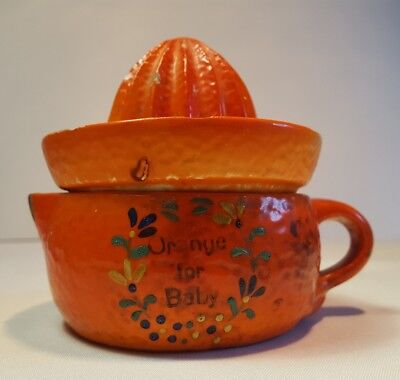 Vintage Orange For Baby Ceramic Juicer Germany Two Piece Pottery