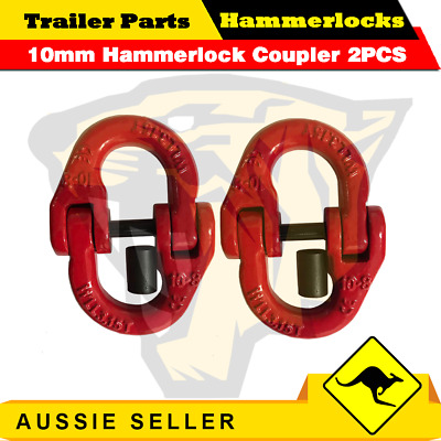 (2 Pack) 10mm Hammerlock Chain Connector Joiner Chain 4x4 Chain Link Coupler