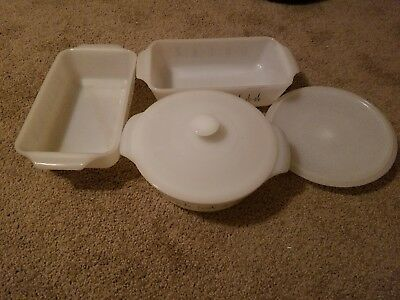 Lot Of 5 Pieces Vintage Anchor Hocking Fire King Ovenware Candle Glow