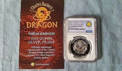 2018 Charles Barber's Dragon 1oz Silver Proof PF70 Licensed By Smithsonian Ins.
