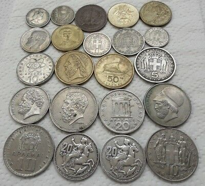 Lot Old 22 Coins Lot Silver Greece British Cyprus Large Greek Coins Drachma D30