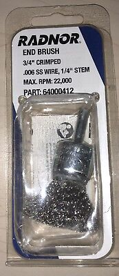 """Radnor 3/4"""" X 1/4"""" Stainless Steel Crimped Wire Mounted End Brush"""