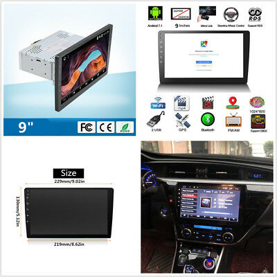 9'' Touch Screen 1-DIN Android 7.1 Quad-Core 1+16G Car WiFi BT 4G GPS MP5 Player