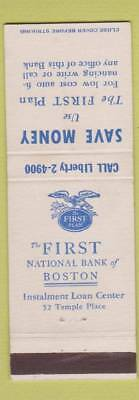 Matchbook Cover - First National Bank of Boston MA