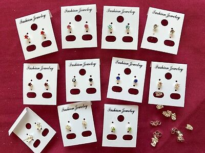 JOBLOT-10 pairs of 0.4cm 8 different colours crownset diamante stud earrings.